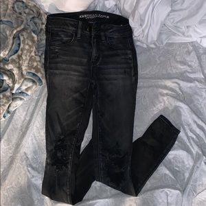 American eagle black high rise distressed jeans